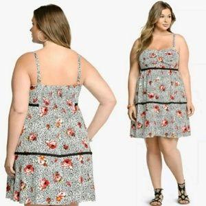 45c71d1b1a1ef Torrid Dresses - Torrid Floral Animal Print Lace Trim Challis Dress
